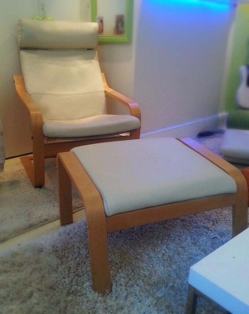Ikea Poang Chair & Matching Footstool. Beige Leather/ Beech. Choice Of Two. Free Local Delivery