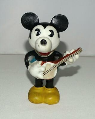 """EX! DISNEY 1930's """"MICKEY MOUSE PLAYING BANJO"""" BISQUE FIGURINE+PRINTED LABEL"""