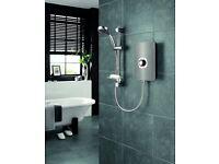 Electric Shower Triton System Control Water Pressure Power 9.5kWGun Metal Effect