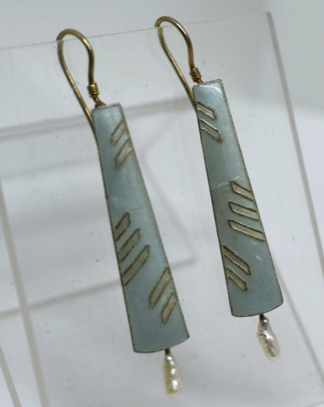 """Scandinavian Sterling Silver 925S Vermeil Enamel & Pearl Dangle 2"""" Earrings"""
