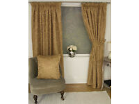 JACQUARD FLORAL DAMASK GOLD LINED PENCIL PLEAT CURTAINS