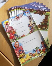 Vintage party invitation postcards. Two cards per sheet with perforation. Total 14 invitations.