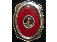 Antique miniature porcelain plaque painting