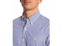 ralph lauren mens blue/white stripped shirt for sale
