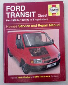 Ford Transit 86-99 Models Haynes Workshop Manual (1999 edition)