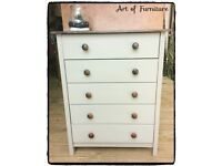 Pine Chest Of 5 Drawers Hand Painted in Light Olive Mineral Paint.