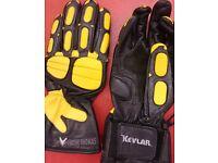 Ladies leather biker gloves