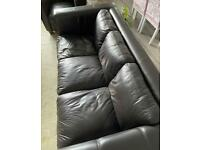Leather Sofa & 2 chairs
