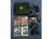 Original XBOX with 4 games (inc Halo 2 + Map Pack), 2 controllers, remote control, etc. RETRO GAMING