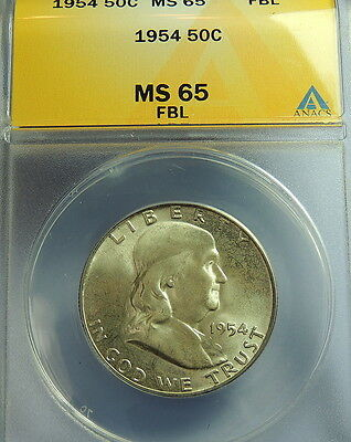 1954 ANACS MS 65 FULL BELL LINES  FRANKLIN HALF  WHOLESALE PRICED    !