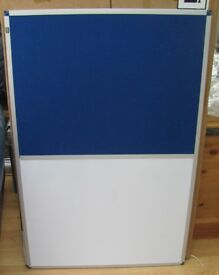 Nobo NEW Combination board White board and felt pin board dry wipe. 600 x 900mm Aluminium frame.