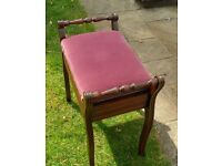 Piano Stool - Music seat. Edwardian, Victorian. Antique, Period, Collectable, Furniture. Walnut ?