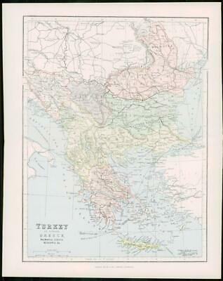 1903 Original Antique Colour Map - TURKEY GREECE EUROPE Ionian Islands (16)