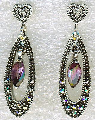 925 Sterling Silver Amethyst & Marcasite Drop / Dangle Earrings Length 1.1/4