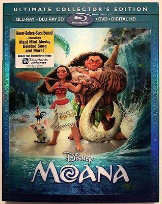 Disney Moana 3D Blu Ray 1 Disc Only   Lenticular Slipcover Sleeve No Artwork