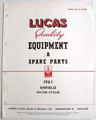 Lucas ROYAL ENFIELD 1961 CE 826F Electrics Equipment & Spare Parts