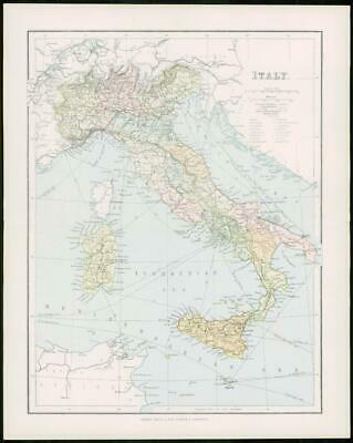 1903 Original Antique Colour Map - ITALY SICILY SARDINIA Tyrrhenian Sea (15)
