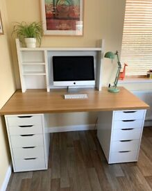 Large IKEA desk, drawers and shelves for home office.