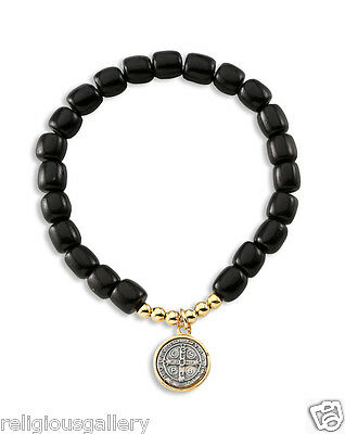 St Benedict Black Wood Beads Catholic Religious Stretch Bracelet,Two Tone Medal