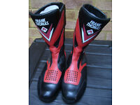 Frank Thomas Motorcycle Boots Size 10, Red / Black Hardly Worn, Excellent Condition