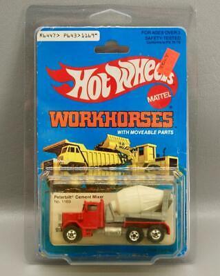 MOC HOT WHEELS WORKHORSES PETERBILT CEMENT MIXER NO. 1169 IN BP w/PLASTIC CASE