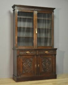 Attractive Large Tall Antique Victorian Carved Oak Glazed Door Bookcase Cabinet