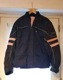 Frank Thomas plus size ladies motorbike jacket. Black & pink
