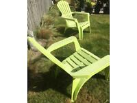 2 lime green garden lounge chairs