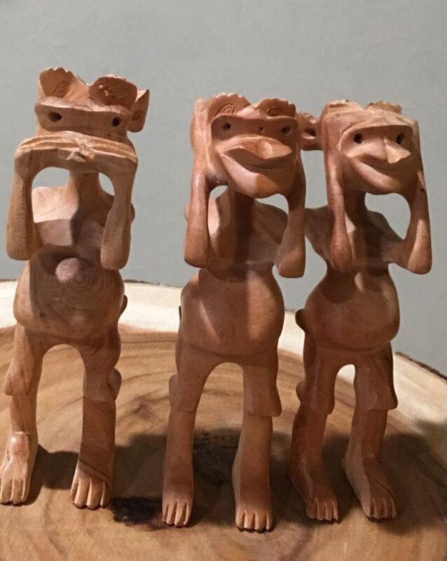 "5"" Tall Carved Cedar Wood Three Wise Monkeys Speak, Hear, See No Evil"