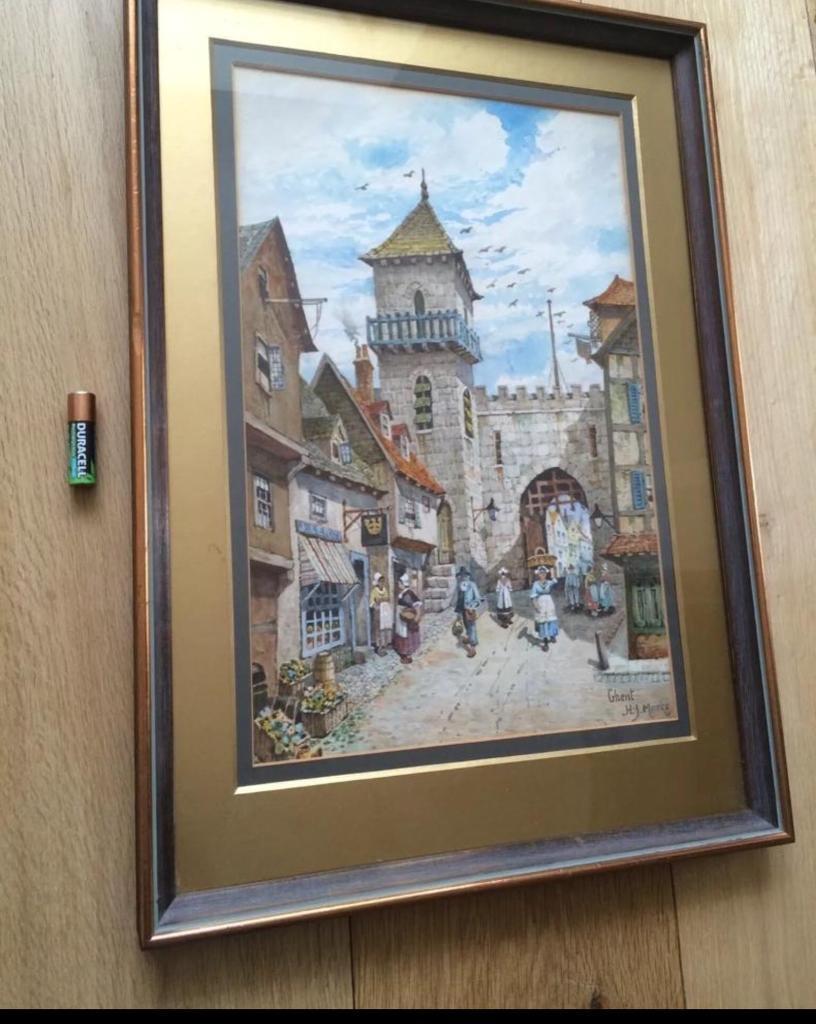 Antique Watercolour Painting Cityscape Ghent Belgium Gilt Frame ...