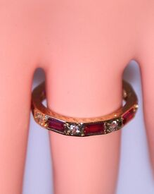DAZZLING 9CT GOLD ART DECO RUBY & CLEAR SPINEL ETERNITY RING SIZE N 3/4 HALLMARKS MADE ENG FAB WORK