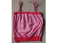 Red & White Diagonal Stripe Boobtube Top