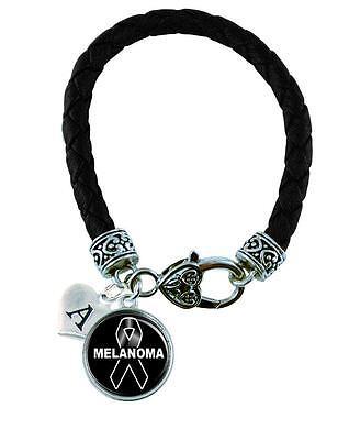 Custom Melanoma Awareness Ribbon Black Leather Bracelet Jewelry Initial Family