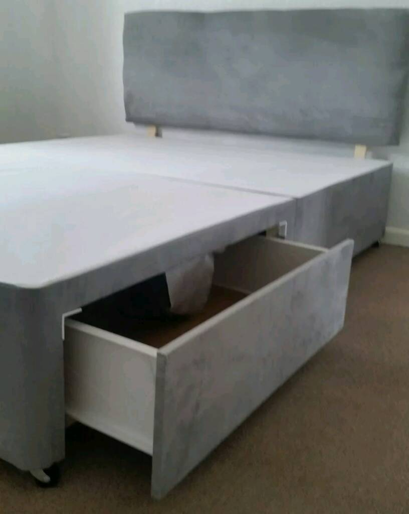 New 4 Drawer Storage Grey 4ft 6 Doubl Suede Divan Bed Base Only In