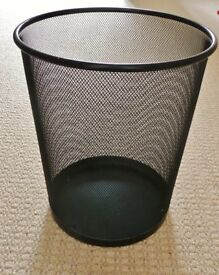 Black Mesh Waste Paper / Rubbish Basket Bin Home Office School