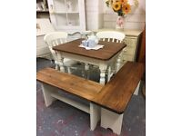 Fabulous Small Farmhouse Pine Table with 2 Chairs and Cornerbench-White-Shabby Chic