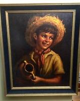 Vintage Lithograph Young Boy