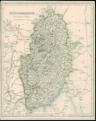 1842 - Original Antique Map of NOTTINGHAMSHIRE by Fisher      (7)