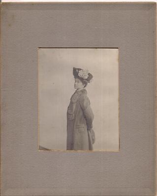 Lovely Edwardian Fashion Hat Fur Collar Coat Woman Antique 1900s Photo Framlet