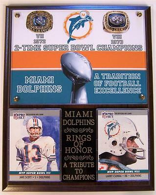 Miami Dolphins 2 Time Super Bowl Champions Rings Of Honor Nfl Photo Card Plaque