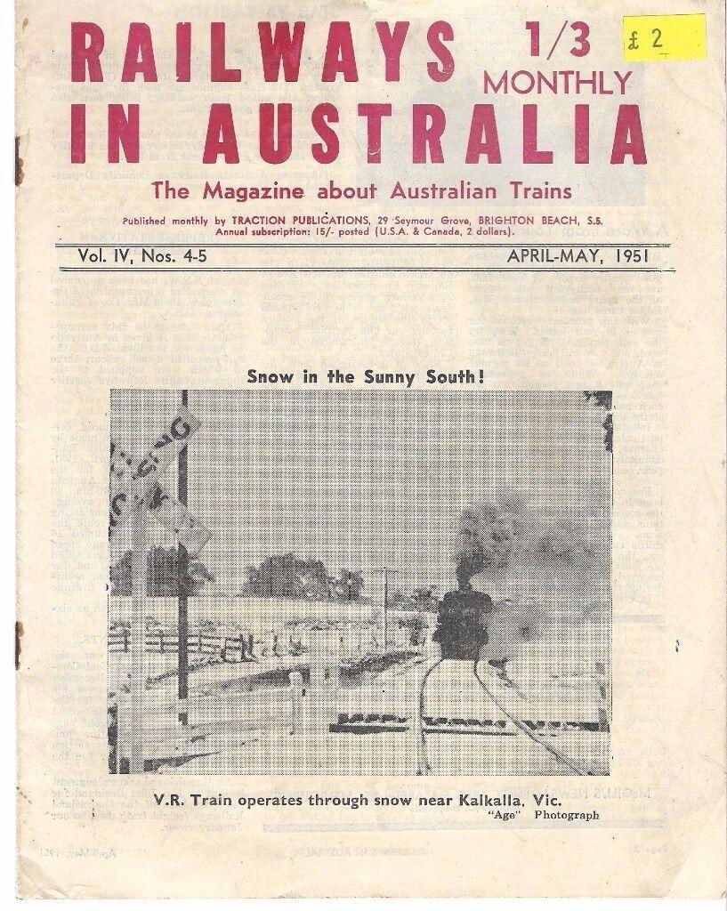 OLD AUSTRALIN RAILWAY MAGAZINES 6 COPIES 1952