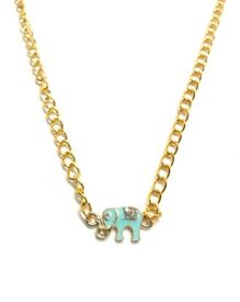 Gold blue elephant charm pendant necklace (free UK delivery)