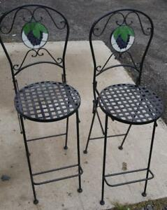 Oakville 2 HIGH STOOLS Wrought Iron & Stained Glass VERY HEAVY High Quality Black Grape Logo Symbol