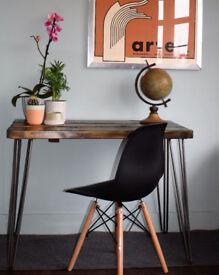 Rustic Handmade Industrial Desk hairpin leg table & Chair Blackened