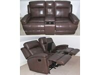 Leather 2-Seater Sofa Settee Double Manual Recliner/Rocker & Console, Sofology Dorchester Collection