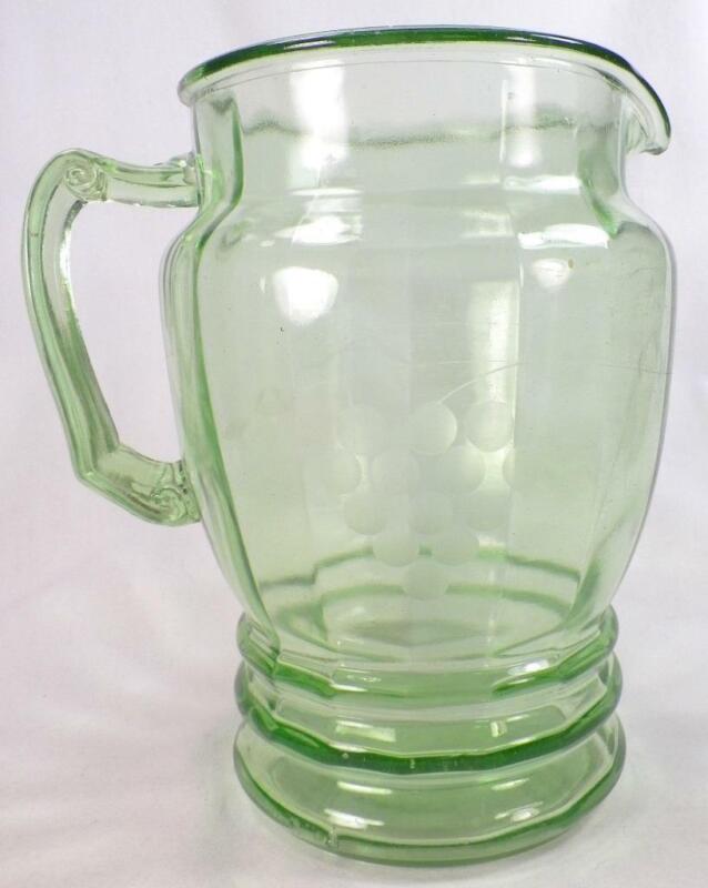 Green Depression Pitcher Grape Cut #6 Standard Glass Co Rib Optic Vintage 56 oz.