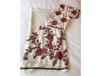 Beautiful Brand New off white chiffon sari with pink embroidery