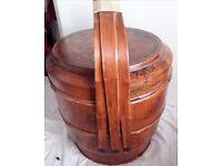 Wooden Decorative Storage Barrel Oriental Style