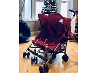 Red Maclaren Twin Buggy Excellent Condition