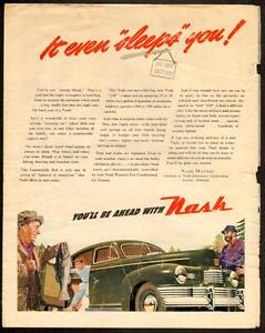 1946 full-page, color magazine ad for Nash Automobiles